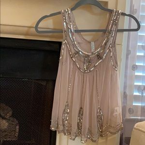 Free People sheer sequined cami, NWOT